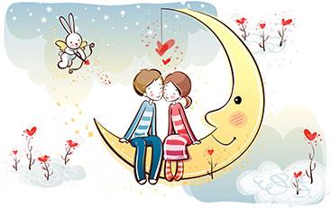Amour : Un garçon et une fille s'embrassent sur la lune. Plein de petits coeurs