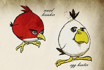 Angry birds. Un pigeon roux et un pigeon blanc