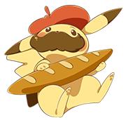 BAguette de pain. Pikachu avec des moustaches et un béret français