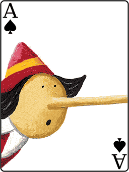 Bluff. Carte Pinocchio sur As de Pique