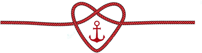 Marin mariage. Noeud en forme de coeur avec ancre rouge au milieu