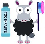 Mouton qui se lave les dents