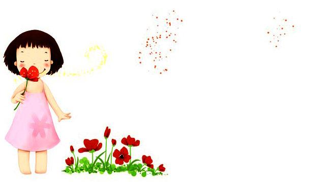 Petit fille sent une fleur