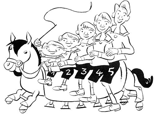 A califourchon. 5 enfants assis sur un cheval