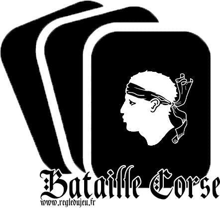 Bataille Corse. Drapeau de la Corse sur une carte.