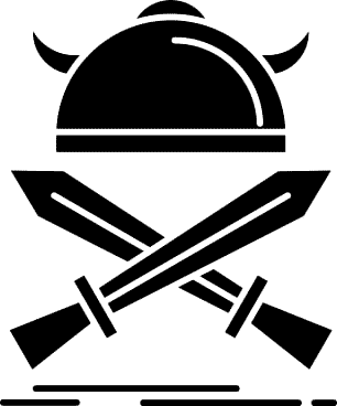 Casque et épée en noir et blanc
