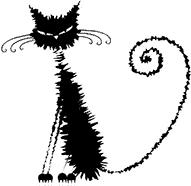 Chat mouillé noir stylisé