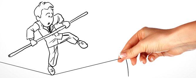 Enjeux. Funambule dessiné en noir et blanc qui fait de l'équilibre sur une ficelle tenue par une main de femme.