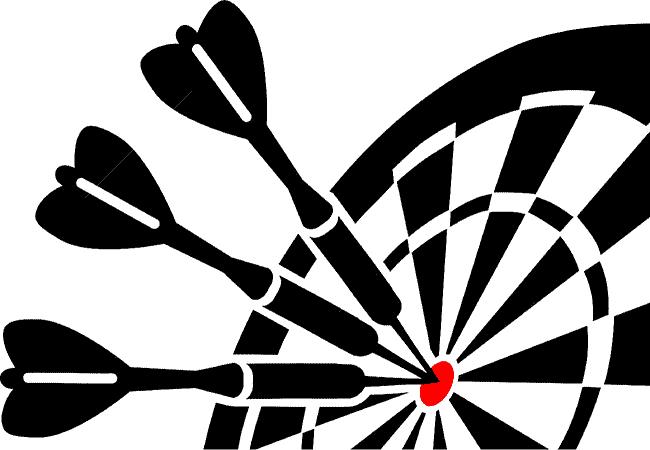 Cible et fléchettes en noir et blanc (et rouge)