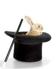 Lapin blanc dans un chapeau de magicien
