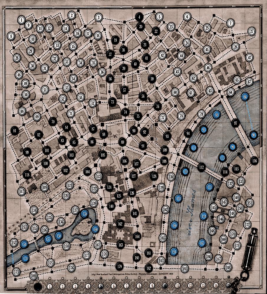 Le Mystère de Whitehall : Plateau de jeu (carte de Londres)