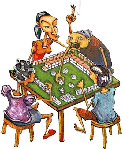 Dessin en couleur présentant 4 mémées chinoises qui jouent au Mah-jong autour d'une table. LEs personnes âgées jouent au Mah-Jong.