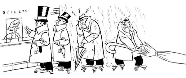 Où suis-je ? 4 hommes avec chapeaux tenant des parapluies sous la pluie