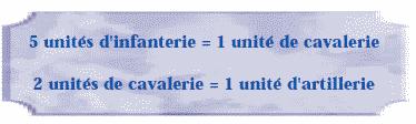 5 unités d'infanterie = 1 unité de cavalerie. 2 unités de cavalerie = 1 unité d'artillerie.