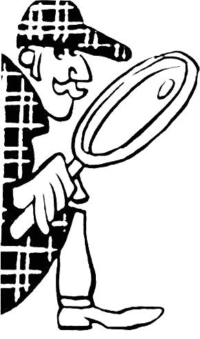 Sherlock Holmes. Noir et blanc moustache et loupe