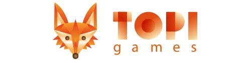 Topi Games. Logo avec un petit renard orange